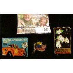 (3) random pins – NC 25 cent stamp, Home Depot with an old truck, American Flag