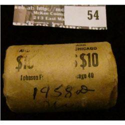 1958 D Original Gem BU Bank-wrapped Roll of Franklin Half Dollars (20 pcs.)