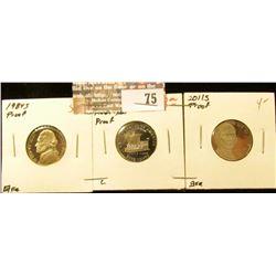 """1984 S Proof, 2004 S """"Keel Boat"""" Westward Journey Proof, & 2011 S Proof Jefferson Nickels. (3 pcs.)."""