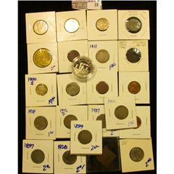 Type 1 Blank Lincoln Cent Planchet; 1965 P Cent BU; 1999 S Proof Cent; 1867 Shield Nickel; 1897, 189