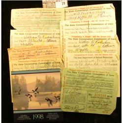 W.D. Fredricksen's of Ottumwa's 1970 Resident Hunting License & 1971,1972, 1979, 1981, 1982, 1983, 1