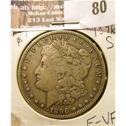 1896-S Morgan Silver Dollar, F-VF,   way tough in higher grades.