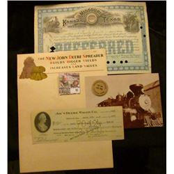 "1910 Stock Certificate for 25 Shares ""Missouri, Kansas and Texas Railway Company""; 1930 Era Brochure"