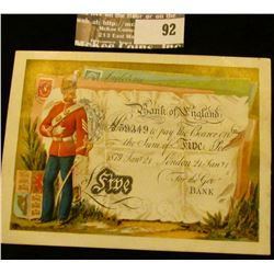 """""""Bank of England"""" Currency Advertising card, late 1800 era."""