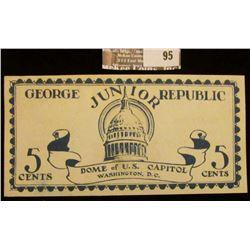 """June, 1925 """"George Junior Republic"""" 5 Cents Scrip, """"Dome of U.S. Capitol Washington, D.C."""", """"Coopera"""