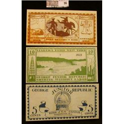 """Three note set of Series of June, 1925 5 Cent, 10 Cent, & 50 Cent """"The George Junior Republic"""", Free"""