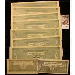"""Nine-piece Set of """"College Currency For Use in 20th Century Bookkeeping & Accounting"""", includes .10c"""