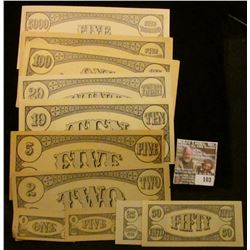 Twelve-Piece Set of College Currency.  1c, 5c, 25c, .50c, $2, $5, $10, $20, $100, $500, $1000, & $50