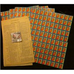 (4) Original Sheets of 1948 Christmas Seals. Some separation and slight damage.