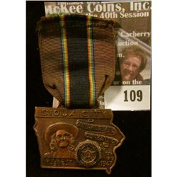 "Ribbon with hanging copper medal ""Sioux City/Annual State/Convention/American Legion/August/11-12-13"