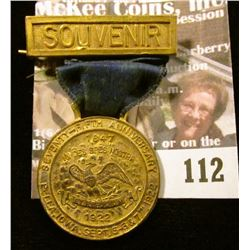 "Very Rare Badge with Ribbon and brass hangar ""Souvenir"", ""Seventy-Fifth Anniversary/Pella, Iowa Sept"