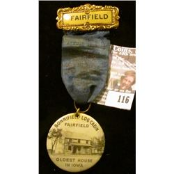 "Badge with Ribbon and Hangar ""Fairfield"", ""…Jefferson County Old Settlers…1916"" (barely legible on r"