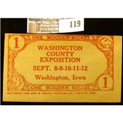 "1938 ""One Wooden Nickel/Washington/County/Exposition/Sept. 8-9-10-11-12/Washington, Iowa/One Wooden"