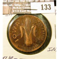 """Iowa Numismatic Association/Founded 1938"", ""Convention/May 17-18/1941/Davenport, Ia."", Copper, 32mm"