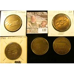 (5) Different Iowa Centennial Medals, all brass. Includes Churdan, Buck Grove, Saint Anthony, Dedham