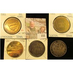 (5) Different Iowa Centennial Medals, all brass. Includes West Chester, Audubon, Coin, Sutherland, &