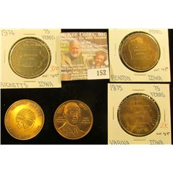 (5) Different Iowa Diamond Jubilee Medals, all brass. Includes Culver City, Ricketts, Kanawha, Fento