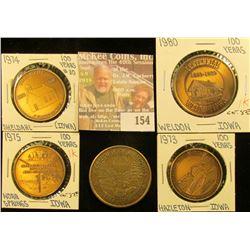 (5) Different Iowa Centennial Medals, all brass. Includes Weldon, Hazleton, Nora Springs, Cumberland