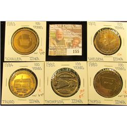 (5) Different Iowa Centennial Medals, all brass. Includes Sheldon, Thompson, Truro, Tripoli, & Schal