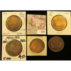 1977 Clare, Ia. Irish Dollar; 1973 Webster City, Iowa Coin Club Medal; 1982 Mallard, Iowa Centennial