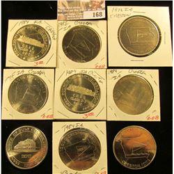 Creston, Iowa Rail Road Centennial Medals, white metal & brass varieties: 1976 Brass, 1983 White met