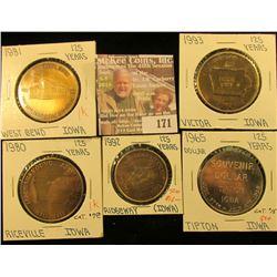 (5) Different Iowa Quasquicentennial Medals, Includes: West Bend, Victor, Ridgeway, Tipton, & Ricevi