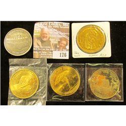 "Scandinavian Dollar, Story City, Iowa 1972; 1968 Charles City, Iowa ""Tornado"" medal; 1977 50th Anniv"