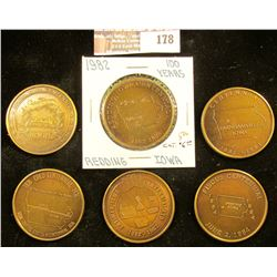 (5) Different Iowa Centennial Medals, all brass. Includes Colo, Farnhamville, Fiscus, Latimer, & Red