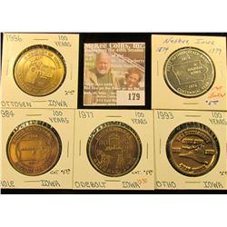 (5) Different Iowa Centennial Medals, all brass. Includes Prole, Ottosen, Otho, Odebolt, & Nashua, I