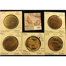 (5) Different Iowa Centennial Medals, all brass. Includes Paulina, Preston, Remsen, Churdan, & Newbu