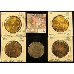 (5) Different Iowa Centennial Medals, all brass. Includes Anita, Adair, Little Rock, Laurens, & Keys