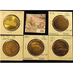 (5) Different Iowa Centennial Medals, all brass. Includes Adair, Whitten, Berkley, Kmarar, & Keswick