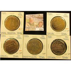 (5) Different Iowa Centennial Medals, all brass. Includes Lorimor, Graettinger, Goodwell, Green Moun