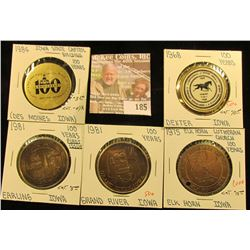 (5) Different Iowa Centennial Medals, all brass. Includes Grand River, Earling,. Elk Horn, Dexter, &