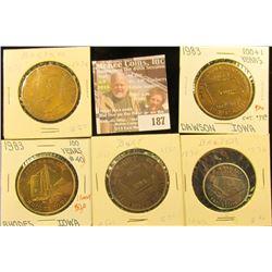 (5) Different Iowa Centennial Medals, all brass. Includes Rhodes, Barnum, Burt, Baxter, & Dawson, Io