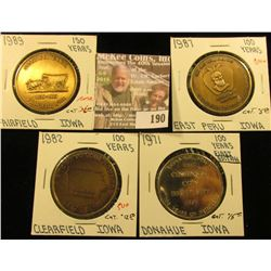 (4) Different Iowa Centennial Medals, all brass. Includes East Peru, Donahue, Clearfield, & Fairfiel