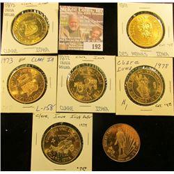 1971 Des Moines, Iowa Golden Anniversary Medal; & (6) different Irish Dollars from Iowa.