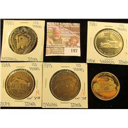 (5) Different Iowa Quasquicentennial Medals, Includes: Dakota City, Rolfe, Ossian, New Sharon, & Mer