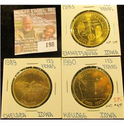 (3) Different Iowa Quasquicentennial Medals, Includes: Chesea, Emmetsburg, & Kellogg, Iowa.