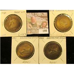 (4) Iowa Quasquicentennial Medals, Includes: (2) Aplington, Clarksville, & Forest City, Iowa.