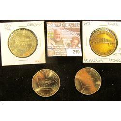 1972 Muscatine Bridge December, 1972 Medal; 1979, 84, & 85 Creston, Iowa Rail Road Medals. All BU.