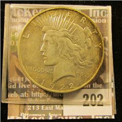 1922 D U.S. Peace Silver Dollar, VF.