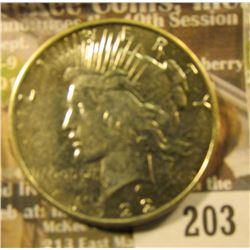 1922 D U.S. Peace Silver Dollar, EF.