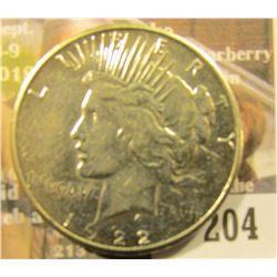 1922 S U.S. Peace Silver Dollar, AU.