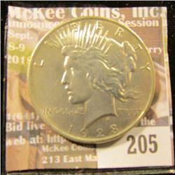 1923 P U.S. Peace Silver Dollar, AU.