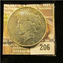 1923 D U.S. Peace Silver Dollar, AU.