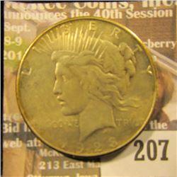 1923 S U.S. Peace Silver Dollar, EF.