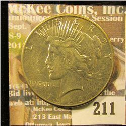1926 S U.S. Peace Silver Dollar, EF.