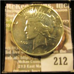 1926 D U.S. Peace Silver Dollar, AU.