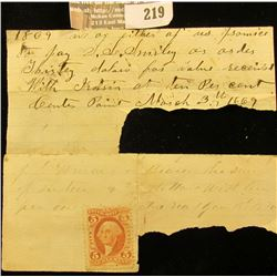 1870 Internal Revenue Stamp & Correspondence.
